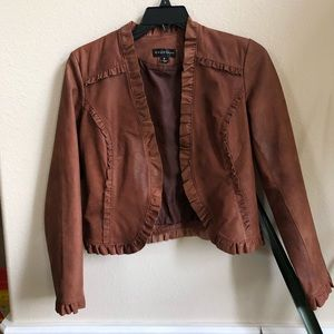 Brown leather Bagatelle ruffled leather jacket